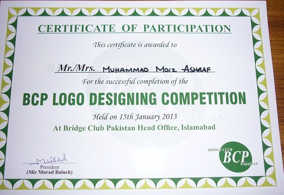 BRIDGE CLUB Pakistan BCIO – Winner Certificates